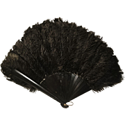 Absolutely excuisite French antique hand fan, Victorian 1800's black ostrich feather boudoir fan, dyed bone sticks and guards
