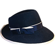 Gorgeous 1950's navy and cream ladies wool fedora, vintage formal hat