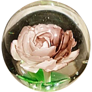 Stunning vintage 1950's art glass paperweight, rose design large dome