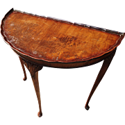 Beautiful 18th century French walnut Demi Lune all table, solid wood antique home interior furniture