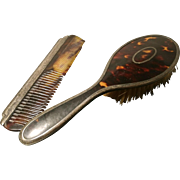 Beautiful art deco sterling silver and tortoiseshell brush and comb, 1922 Walker and Hall silver brush