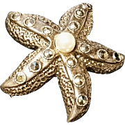 Stunning sterling silver, marcasite and cultured pearl starfish brooch, vintage art deco 1920's silver pin