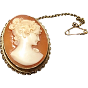 Gorgeous antique Victorian 9ct / 9 karat gold cameo brooch, rope twist gold mount, highly detailed antique cameo