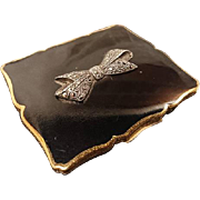 Stunning 1950's Stratton compact, black enamel and marcasite bow art deco style