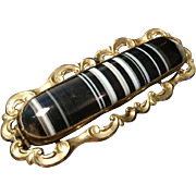 Striking Georgian pinchbeck and banded agate brooch, antique mourning brooch