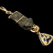 Antique art nouveau fob ribbon, watch fob