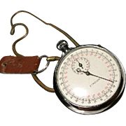 Stadion vintage stopwatch, white metal case, snake chain, 30's mechanical stopwatch