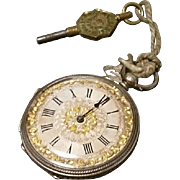 Absolutely stunning ladies antique silver pocket watch, Victorian pocket watch engraved silver case, gold leaf foliate, working with key