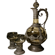 Antique 19th century claret jug, amber blown glass and pewter, highly decorative attributed to lichtinger claret jug and glasses