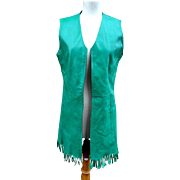 Gorgeous 60's fringed leather tunic, jade green fringed leather waistcoat, vintage vest, gilet, 1960's hippie
