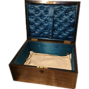Beautiful victorian solid pine sewing box, lockable without key, satin lined, handled antique box