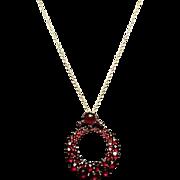 Beautiful antique Bohemian Garnet pendant, rose gold plated, fine link chain, stunning Victorian pendant