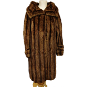 Vintage 50's fur coat, Beautiful huge full length beaver fur coat, striped and soft, cowl neck collar and oversized cuffs, plus size