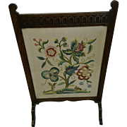 A beautiful Arts and Crafts carved oak fire screen, antique tapestry and glass screen, Edwardian home furniture, rustic decor