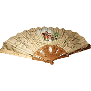 Antique hand painted silk Spanish fan, bridal fan, wood and silk fan