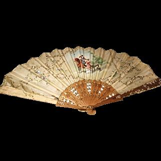 Antique hand painted silk Spanish fan, bridal fan, wood and silk fan