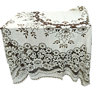 A pretty vintage, extra large, Genuine Nottingham lace tablecloth, world renowned Nottingham lace, huge tablecloth