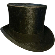 Fabulous antique top hat, real beaver edwardian top hat, Alex Prosser 'The Hatter' size 7