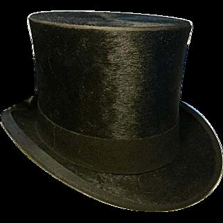 Fabulous antique top hat, real beaver edwardian top hat, Alex Prosser 'The Hatter' size 7