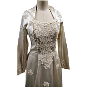 Stunning 1950's Laura Phillips, silk and pearl wedding gown, vintage 50's dress