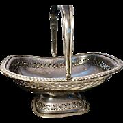 Early Victorian pierced silver plated bon bon dish, handled antique dish / basket