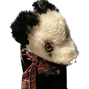 Adorable antique straw filled panda bear, articulated head, antique stuffed toy