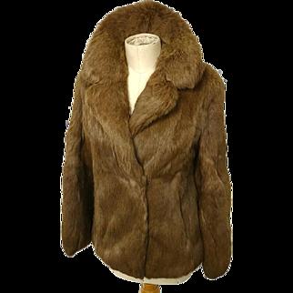 Vintage super soft rabbit fur jacket, oversized collar, as new vintage, coney fur, Hollywood glam