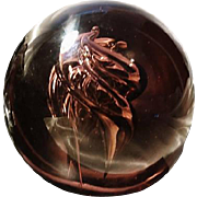 Stunning vintage glass art paperweight, large swirl dome paperweight