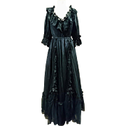 Absolutely stunning 1950's vintage Georgian style mourning dress, black lace and satin