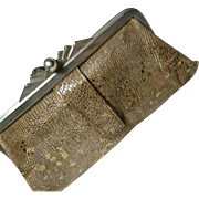 Fab vintage 1920's snakeskin purse, art deco clutch purse, cites exempt