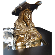 Incredible 19th century solid bronze figural ink well in the form of a cavalier, novelty Victorian ink stand