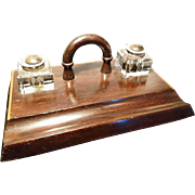 Antique solid oak and parquetry ink stand with handle and ink wells, early Victorian portable ink stand