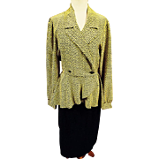 Vintage 80's wiggle dress, peplum, yellow and black fit and flare, pencil skirt, St Michael's