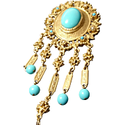 Antique pinchbeck and enamel brooch, Victorian Etruscan revival