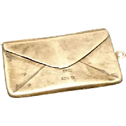 Beautiful Edwardian sterling silver stamp case styled as an envelope, sterling silver Chester 1913, antique double stamp case pendant