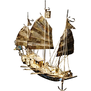 Antique sterling silver Chinese junk ship, war ship on stand, silver model