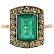 Beautiful Georgian 15ct / 15kt gold and paste stone ring, green and white, antique ring