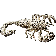 Incredible huge vintage scorpion brooch, marcasite, silver tone metal with black pyrite
