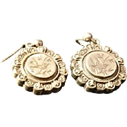 Victorian silver earrings, beautiful song bird etched antique silver drop earrings