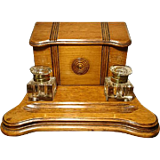 Beautiful antique late Victorian solid oak ink stand, letter / paper rack, brass mounted inkwells