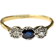Antique diamond and sapphire ring 12ct gold, Georgian era trilogy ring