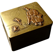 Antique copper and brass snuff box, Japanese meiji period, figure and frogs, incised flora, antique Japanese snuff box, signed
