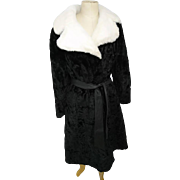 Vintage black and white simulated fur coat, full length, sumptuously soft, belted, big fluffy collar as new!