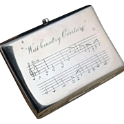 Antique novelty silver cigarette case, Victorian sterling silver, musical staves, gilt lined, West Country overture