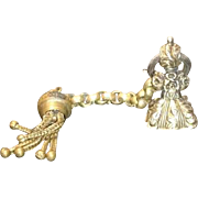 Antique Georgian seal fob, take care inscription, gilt metal fancy chain