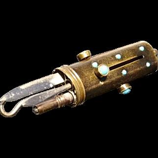 Unusual antique etui, manicure case, blacked brass and turquoise stone, etui pendant or chatelaine charm