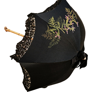 Victorian mourning parasol, antique silk hand painted, gnarled bamboo handle