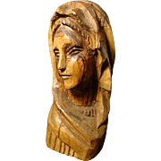 Antique hand carved bust of the Virgin Mary, victorian Catholic statue, our lady
