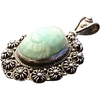 Vintage silver and jade scarab pendant, 1920's Egyptian revival scarab beetle, art deco