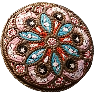 Micro mosaic brooch, Victorian era, antique brooch, fine and intricate micro mosaic